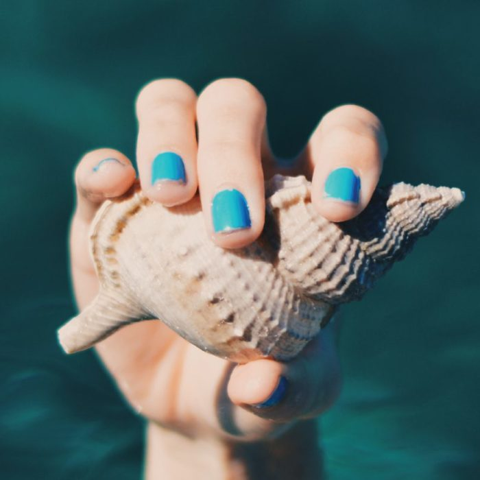 chipped nails holding seashell